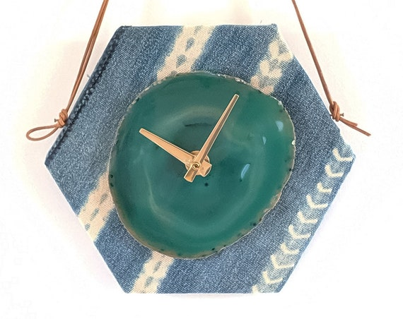 "8"" Green Agate + Light Blue Indigo Mudcloth Wall Clock"