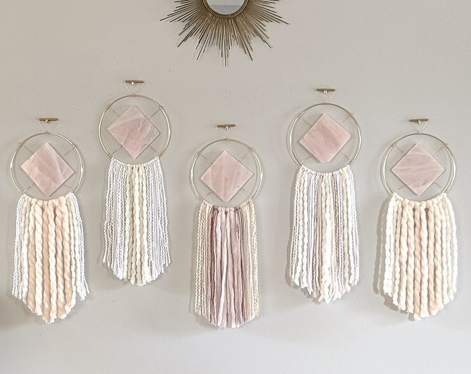 Featured listing image: Choose Your Rose Quartz Wall Hanging | Ready to Ship