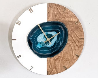 "16"" Choose Your Jumbo Agate Kismet Vertical Wood Wall Clock 