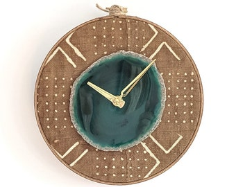 "8"" Green Agate + Rust Mudcloth Wall Clock"