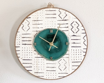 "12"" Choose Your Agate + Mudcloth Wall Clock 