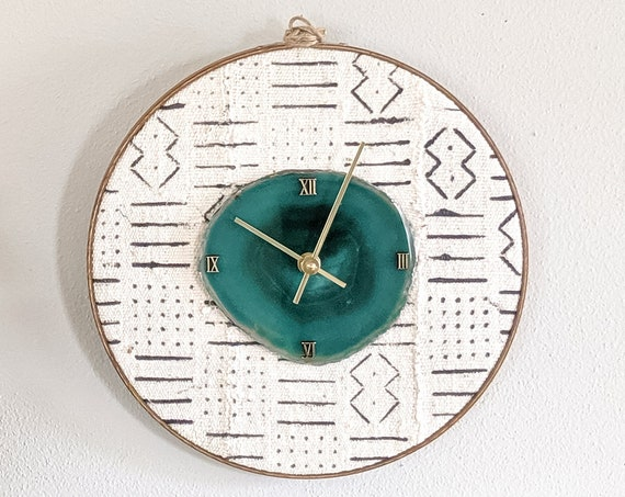 """12"""" Choose Your Agate Mudcloth Clock 