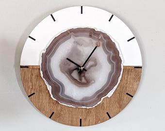 "16"" Gray Jumbo Agate Kismet Horizontal Wood Wall Clock | Ready to Ship"