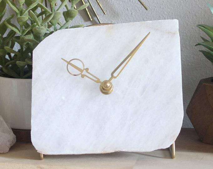 White Quartz Slab Desk Clock No 8
