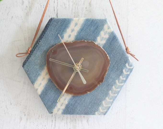 "8"" Natural Agate + Light Blue Indigo Mudcloth Textile Wall Clock"