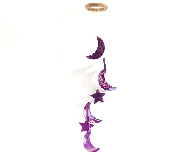 Choose Your Purple Star/Moon Agate Chime