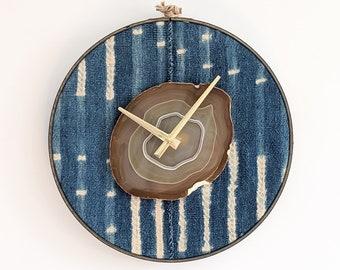 "10"" Natural Agate + Indigo Mudcloth Textile Wall Clock"