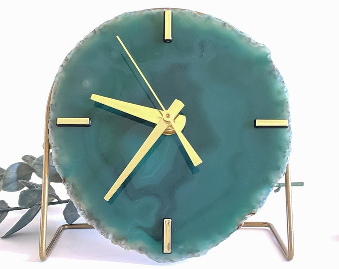 Featured listing image: Green Agate Desk Clock   Choose Your Green Agate