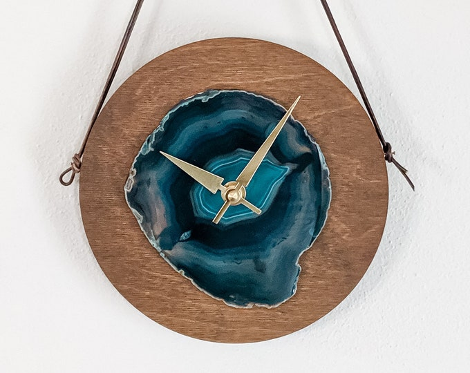 "8"" Teal Agate + Wood Wall Clock 