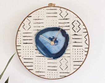 "12"" Blue Agate + White/Black Mudcloth Wall Clock"