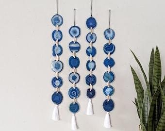 BOHO BLUE AGATE Garland,Boho Wall Hanging,Boho Decor,Boho Wall Decor,Agate Wall Hanging,Indie Wall Decor,Agate Suncatcher.Made to Order