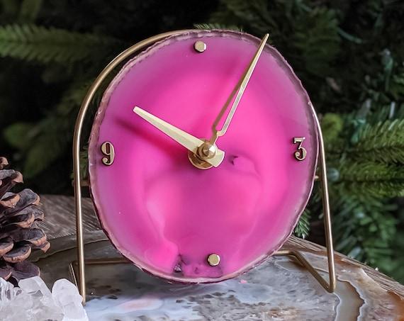 Fuchsia Pink Agate Desk Clock | Ready to Ship