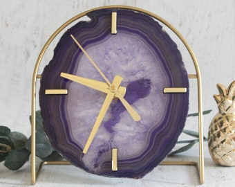 Ultra-Violet/Purple/Amethyst Agate or Amethyst Desk Clock | Choose Your Purple Agate or Amethyst