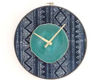 """10"""" Green Agate + Indigo Hmong Textile Wall Clock"""