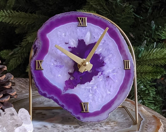 Purple Ultraviolet Agate Desk Clock | Ready to Ship