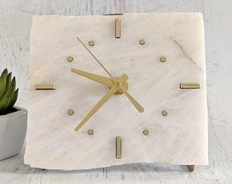 White Quartz Slab Desk Clock
