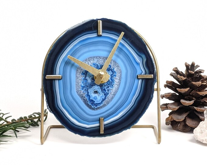 Choose Your Blue Agate Desk Clock | Made to Order