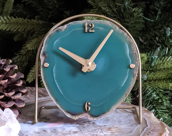 Green Agate Desk Clock | Ready to Ship