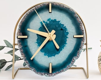 Choose Your Teal Agate Desk Clock | Made to Order