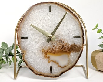 Choose Your Natural Agate Desk Clock | Made to Order