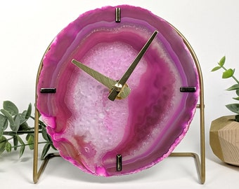 Choose Your Pink Agate Desk Clock | Made to Order