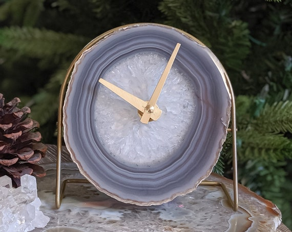 Gray Agate Desk Clock | Ready to Ship