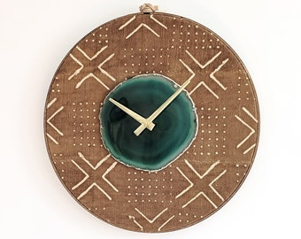 """12"""" Green Agate + Camel Line Mudcloth Textile Wall Clock"""