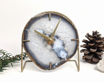 Choose Your Gray Agate Desk Clock | Made to Order