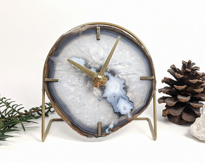 Featured listing image: Choose Your Gray Agate Desk Clock | Made to Order
