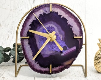 Choose Your Purple Agate Desk Clock | Made to Order