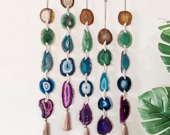 JOANNA AGATE GARLAND,Natural/Green/Teal Agate,Boho Wall Hanging,Boho Decor,Boho Wall Decor,Agate Wall Hanging,Indie Wall Decor,Made to Order