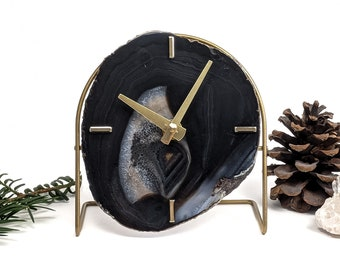 Choose Your Black/Brown Agate Desk Clock | Made to Order