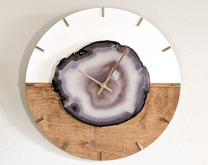 "16"" Choose Your Jumbo Agate Kismet Horizontal Wood Wall Clock 