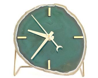 Green Agate Desk Clock | Ready To Ship