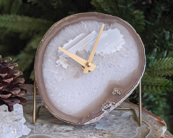 Taupe/White Agate Desk Clock | Ready to Ship