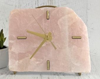 Rose Quartz Slab Desk Clock