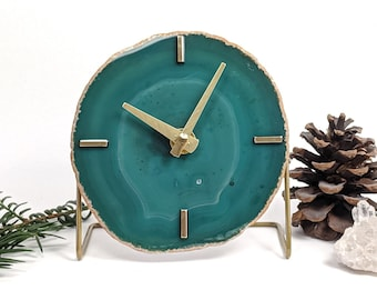 Choose Your Green Agate Desk Clock | Made to Order