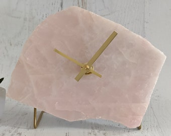 "6"" Large Rose Quartz Desk Clock"