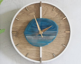 """10"""" or 12"""" Agate Layered Wood Wall Clock 