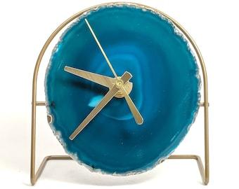 Teal Agate Desk Clock