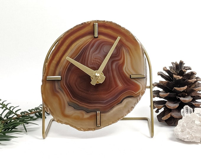 Choose Your Amber Agate Desk Clock | Made to Order