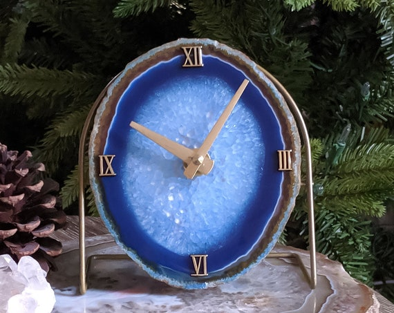 Blue Agate Desk Clock | Ready to Ship