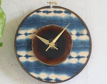 "8"" Earthtone/Brown Agate Indigo Shibori Mudcloth Textile Wall Clock"