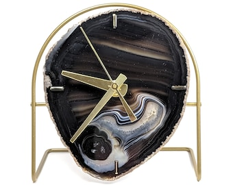Black Agate Desk Clock | Ready To Ship