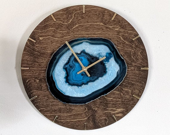 """16"""" Choose Your Jumbo Agate Mid Century Design Wood Wall Clock 