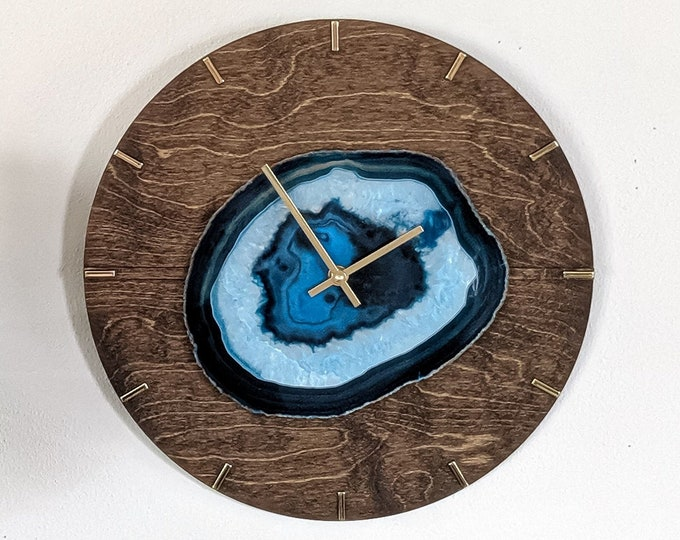 "16"" Choose Your Jumbo Agate Mid Century Design Wood Wall Clock 