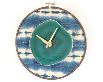 "8"" Green Agate + Light Blue Indigo Mudcloth Wall Clock"