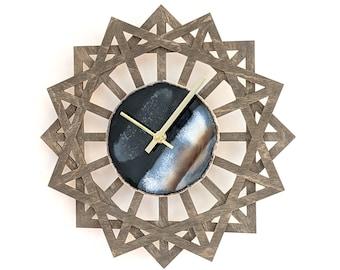 "12"" Black Agate + Sunburst Wood Wall Clock"
