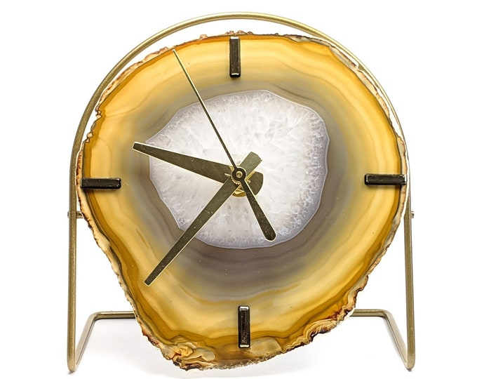 Natural Agate Desk Clock | Ready To Ship