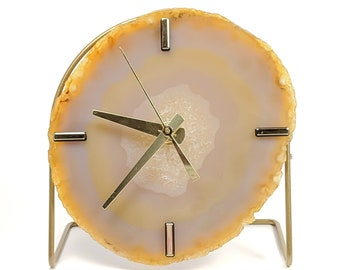 Natural Peach/Light Orange Agate Desk Clock | Ready To Ship